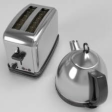 Black Kettle Toaster Set Kettle U0026 Toaster Set 3d Model Other Appliances Toaster 3ds Fbx Obj