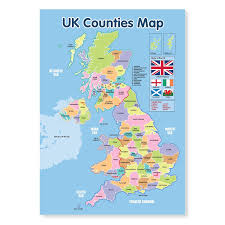 counties map a3 laminated uk counties map educational poster co uk