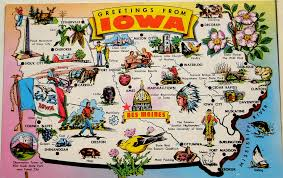 visited states map greetings from iowa map postcard back text nickname ha flickr