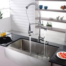 faucet kitchen sink kraus 35 88 x 20 75 farmhouse kitchen sink with faucet and soap