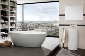 stylish modern bathroom with nova u0027s elegant freestanding bathtub