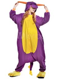 Halloween Onesie Costumes Kigurumi Pajama Dinosaur Onesie Fleece Flannel Purple