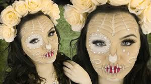 Sugar Skull Halloween Makeup Tutorial by Sugar Skull Makeup Tutorial Diy Flower Crown Youtube