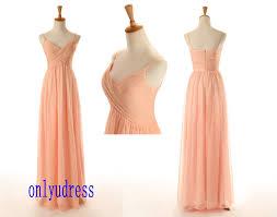 made long peach chiffon bridesmaid dresses spaghetti straps long