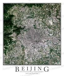 Satellite View Map Beijing China Satellite Map Print Aerial Image Poster