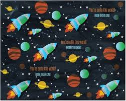 space wrapping paper space blowout personalized gift wrap eleanor teal blue