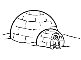 little eskimo sitting in front of her igloo coloring pages