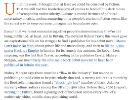 robyn travis only black british male debut novelist in 2016