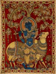 fluting krishna with his cow folk art kalamkari painting on cotton