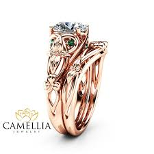 celtic gold rings images Moissanite shamrock celtic knot engagement ring set 14k rose gold jpg