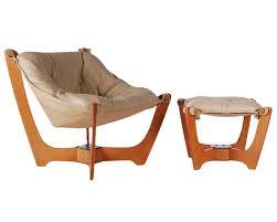 Sling Ottoman Scandinavian Leather Sling Lounge Chair And Ottoman At 1stdibs