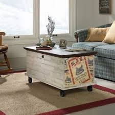 Coffee Table Trunks Sauder Rue Rolling Coffee Table Chest White Plank Ebay