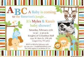 co ed baby shower baby boy safari shower invitation monkeys blue style