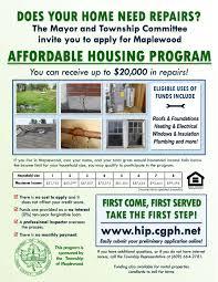 affordable housing maplewood nj