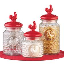 red rooster 3 piece glass canister set by collections etc ebay