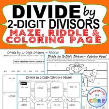 divide by 2 digit divisors maze riddle coloring page fun math