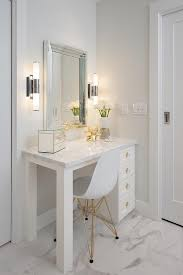 Built In Vanity Dressing Table Glam Makeup Vanity With Beveled Mirror Transitional Bathroom