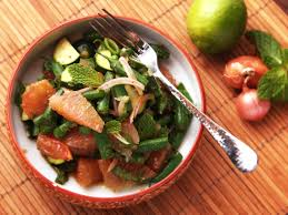 spicy thai style pomelo green bean and zucchini salad recipe
