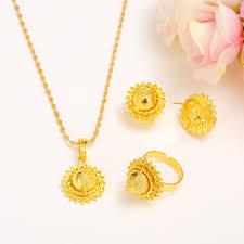 girl wear necklace images Small size ethiopian set jewelry necklace earrings kids women gold jpg