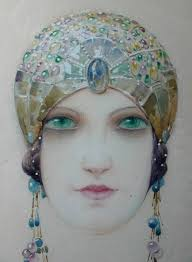jewelled headdress louis ernest lessieux deco girl wearing a jewelled headdress