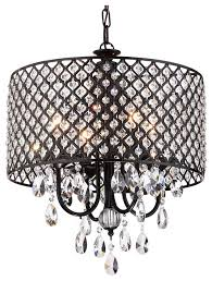 Crystal And Black Chandelier Drum 4 Light Crystal Chandelier Black Contemporary