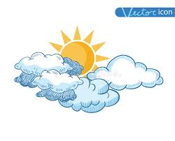 sun with clouds doodle collection stock vector