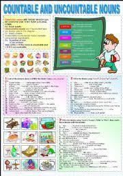 Countable And Uncountable Nouns Explanation Pdf Worksheet Countable And Uncountable Nouns Choco Pio