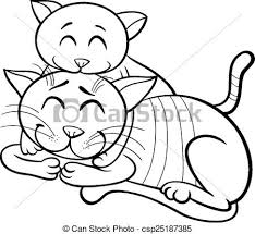 vector happy cat kitten coloring book black white