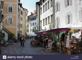 wine bar and restaurant fischbänke in bozen bolzano italy stock