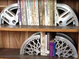 saw this at auto shop great idea for guys car rim bookends