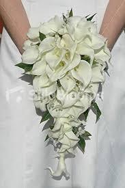 Cascade Bouquet Amazon Com Ivory Calla Lily Cascading Bridal Bouquet W Jasmine