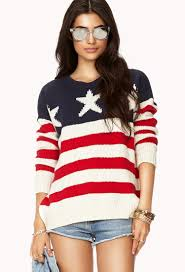Model American Flag Lyst Forever 21 American Flag Sweater In Blue
