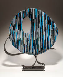 Seeking Fused Cast Fused Glass And Metal Sculpture Blue Circle By Bonnie Hinz