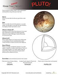 know your planets pluto worksheet education com