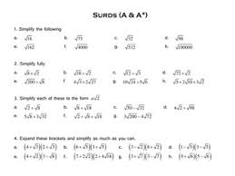 surds alternative worksheet by tristanjones teaching resources tes