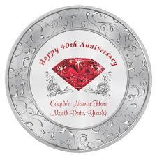 40th anniversary plates personalized 40th anniversary paper plates zazzle