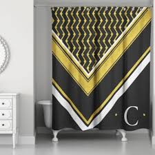 Yellow And White Shower Curtain Buy Black And White Fabric Shower Curtains From Bed Bath Beyond