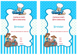 cooking and baking free printable birthday party invitations