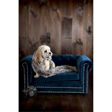 Navy Blue Tufted Sofa Husky Navy Blue Velvet Tufted Couch Pet Bed With Nailhead Trim