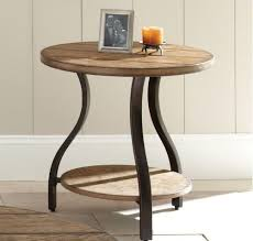 round wood and metal end table end tables designs shays rustic mango wood parquet metal square