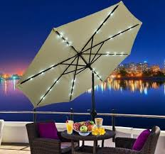 Outdoor Umbrella With Lights Outdoor Umbrella With Solar Lights Light Up Your Night The Easy