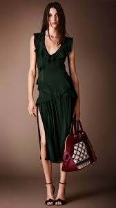 burberry layered silk ruffle detail dress in green lyst