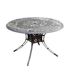 Aluminum Patio Table by Antique Bronze 48 In Round Aluminum Outdoor Dining Table Hdpart