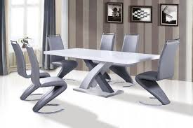 Grey Dining Table Chairs Axara Extendable Dining Table In White High Gloss With Stainless