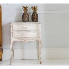 distressed white side table delphine distressed painted bedside table white side tables and