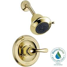 delta classic 1 handle shower faucet trim kit in polished brass