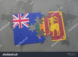 New Zealand On World Map by Puzzle National Flag New Zealand Sri Stock Illustration 446659027