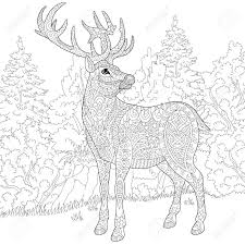 stylized cartoon deer stag christmas reindeer sketch for