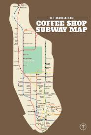 Manhatten Subway Map by Map Of The Best Coffee Shop Within 5 Minutes Of Every Manhattan