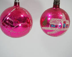 pink glass ornament etsy